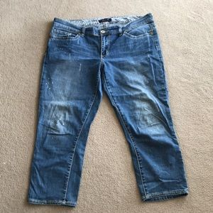 Seven7 Jeans Mid-rise Paint Spotted Skinny Crop 14